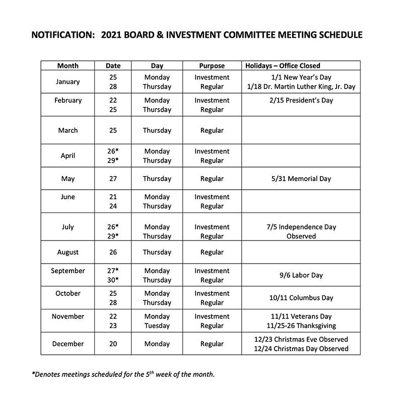 2021 BOARD & INVESTMENT COMMITTEE MEETING SCHEDULE